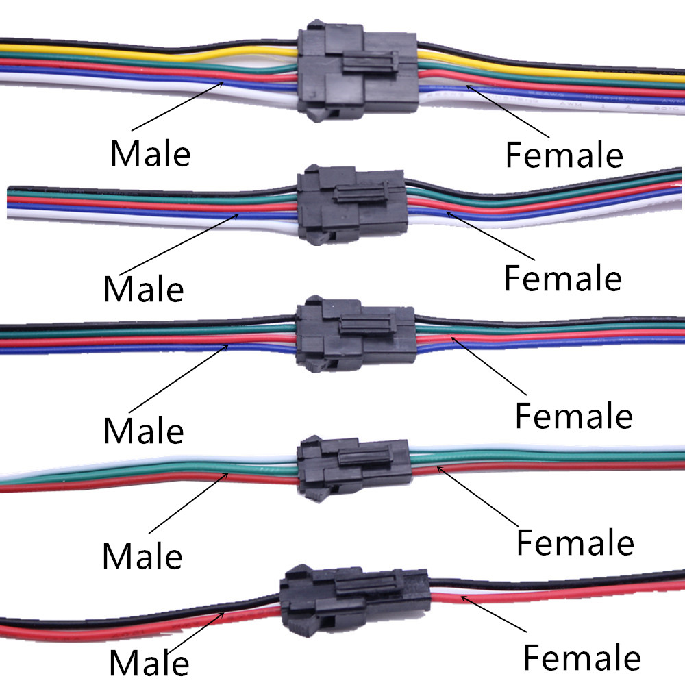 5Pairs SM 2Pin 3Pin 4Pin Male and Female LED Strip Wire Connector 20c B9ha
