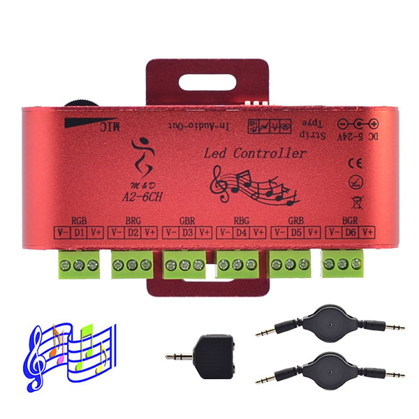 6 Output Channel LED SPI Music Controller - Built-in 600 Pixels - Control DC5-24V WS2811 WS2801 WS2812 LPD6803 APA102 Addressable LED Strip Lights