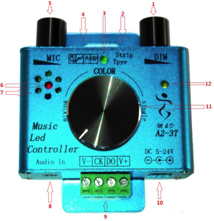 Dimmable Led Spi Music Controller 256 Music Programs