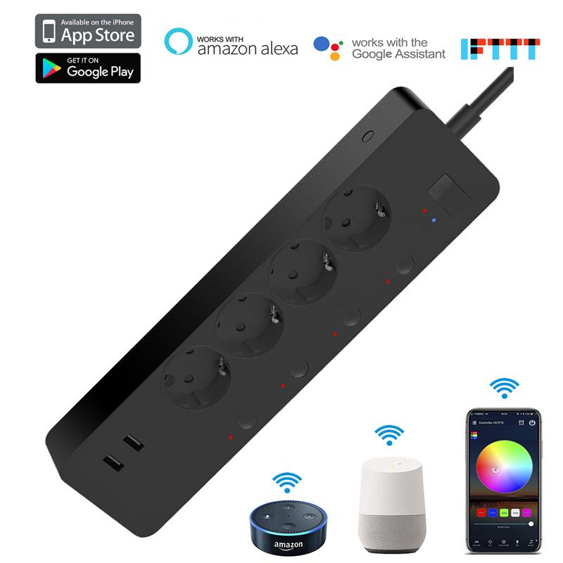 AC250V WIFI Smart Power Strip 4AC Fast Charge Plug Sockets