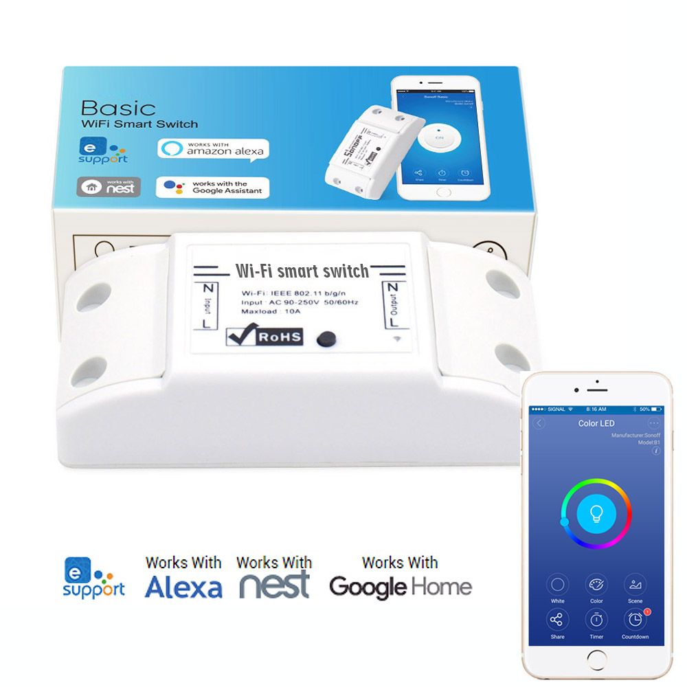 AC90-250V 10A WiFi Wireless Switch Works perfectly with Amazon Alexa, Google Assistant, IFTTT, Google Nest + IP66 Waterproof Case For Smart Home