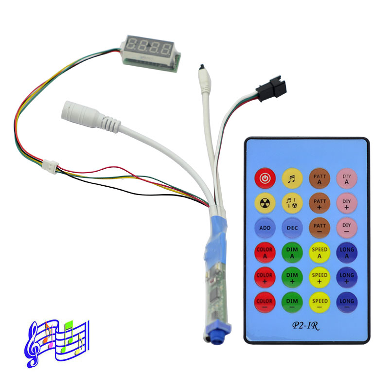 DC5-12V Mini Music Dream Color LED SPI Controller, Built-in 236 Music Modes, Adjustable Mode Length, Dimmable, With 24keys IR Remote