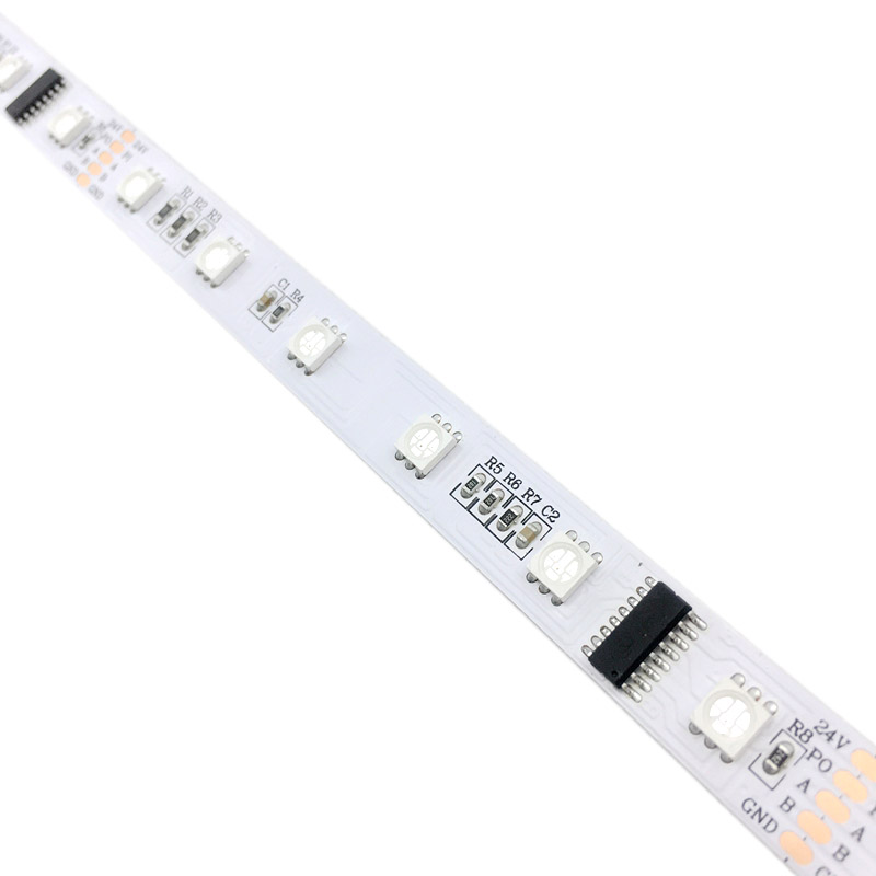 DMX512 RGB Addressable LED Strip Lights, 40 IC 240 LEDs, DC24v, built-in 485 Decoding Stage Lighting Programmable Pixel LED Strips, 16.4feet/roll
