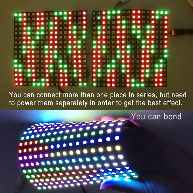 LED Music Spectrum Dot Matrix Screen Programmable Control Card FM18 - Built-in 2048 Pixels - Control 8 Pieces 16x16 WS2812B NeoPixel LED Soft Display