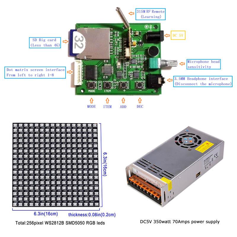 LED Music Spectrum Dot Matrix Screen Programmable Control