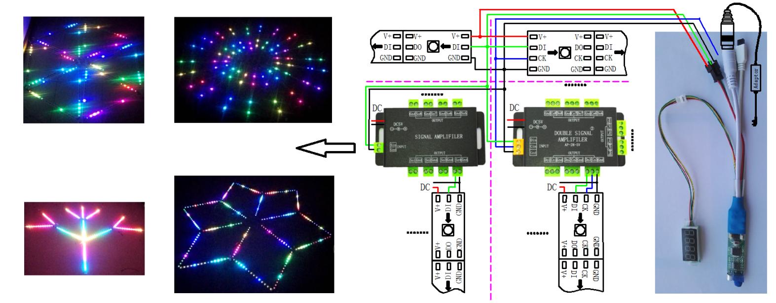Dc5 12v Mini Music Dream Color Led Spi Controller Built In 236 Addressable Wiring Diagram