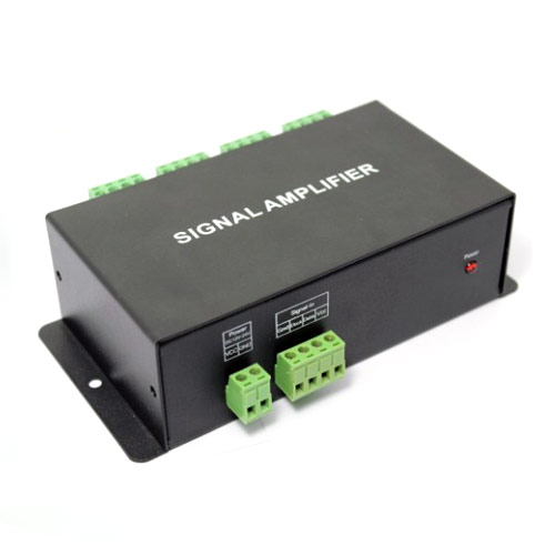 DC12V, 8 Channel SPI Signal Output Data Signal Amplifier For Programmable Dream Color 6803 1903 1809 1812 2811 IC Led Light Strips
