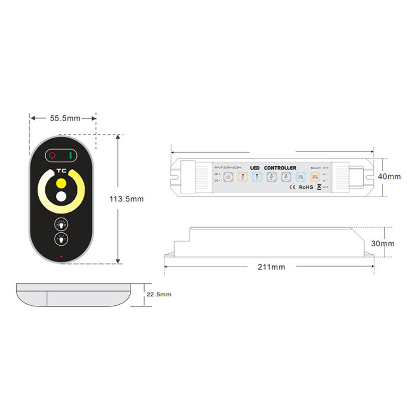 DC12/24V Max 10A, Universal New Style grouping Touch Panel 6keys 2.4GHz wireless RF color temperature touch controller For CCT Led Strips lights