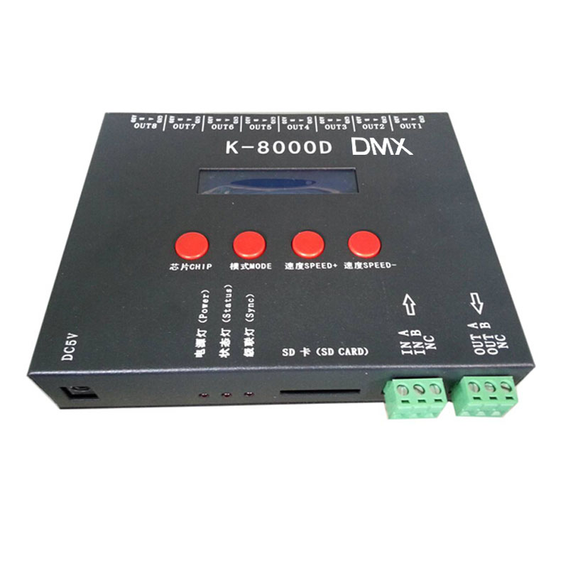 DC5~24V,8 channel,K-8000D with SD card pixel programmable controller support standard dmx512 chip/DMX512AP-N/WS2821A writer function for addressable led strip lights