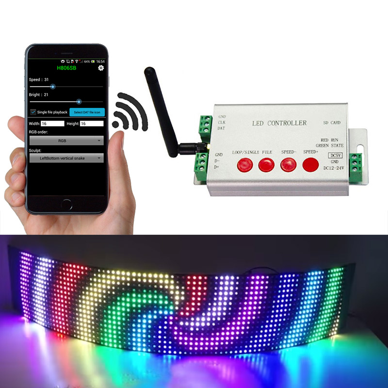 Dc5 24v Led Digital Wifi Dmx512 Controller 2048 Pixel App Control By Android Devices Can Be Connect Addressable Dmx512 Programmable Led Lights Confull Wifi 03