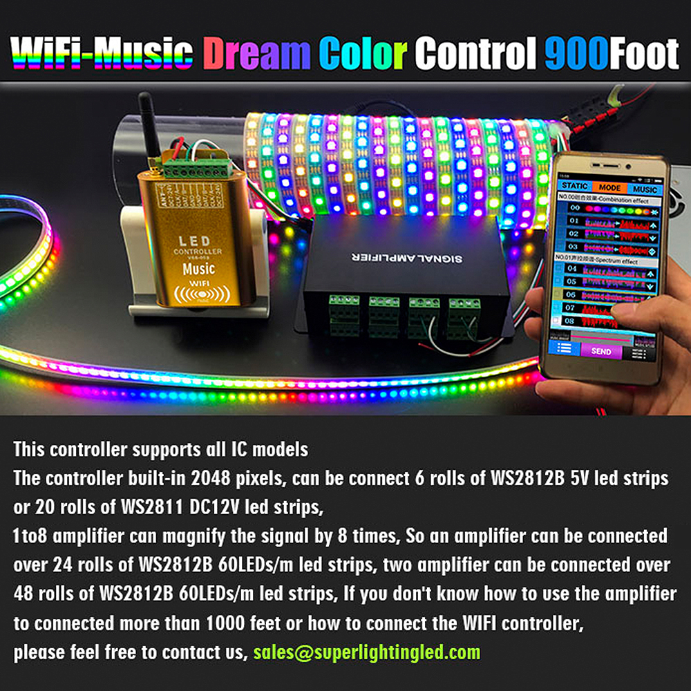 DC7-24V, Newest LED WIFI Dream Color Music Spectrum DMX Cascaded Controller Control by Android Device, For LPD6803,WS2811,WS2812B, WS2801 Addressable LED Lights