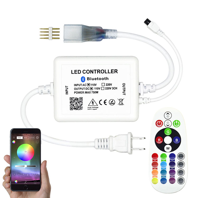AC110V 750W WiFi Buletooth Music RF Wireless High-Voltage RGB Controller For High Voltage LED Tape Lights - Support Alexa, Google Home and Nest