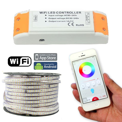 AC110/220V 660w Wifi wireless RGB color changing high voltage controller for high voltage AC110V 220V Waterproof IP67 LED tape lights