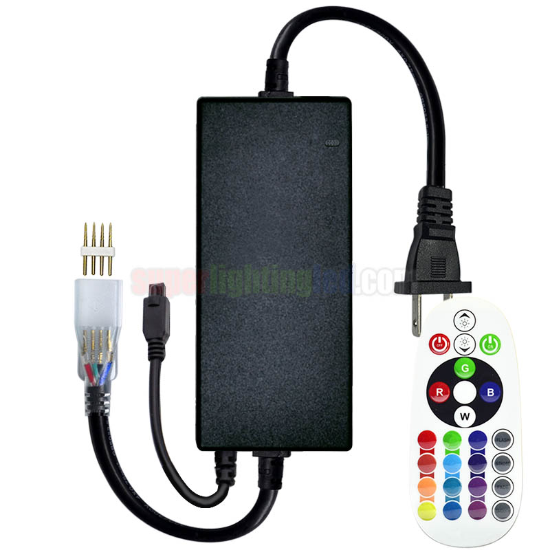 AC110-220V 750W 24 Keys IR LED RGB Controller, For Hotel Lighting, Office Lighting System, Connect 110V 220V High Voltage Waterproof RGB LED Strip Kit