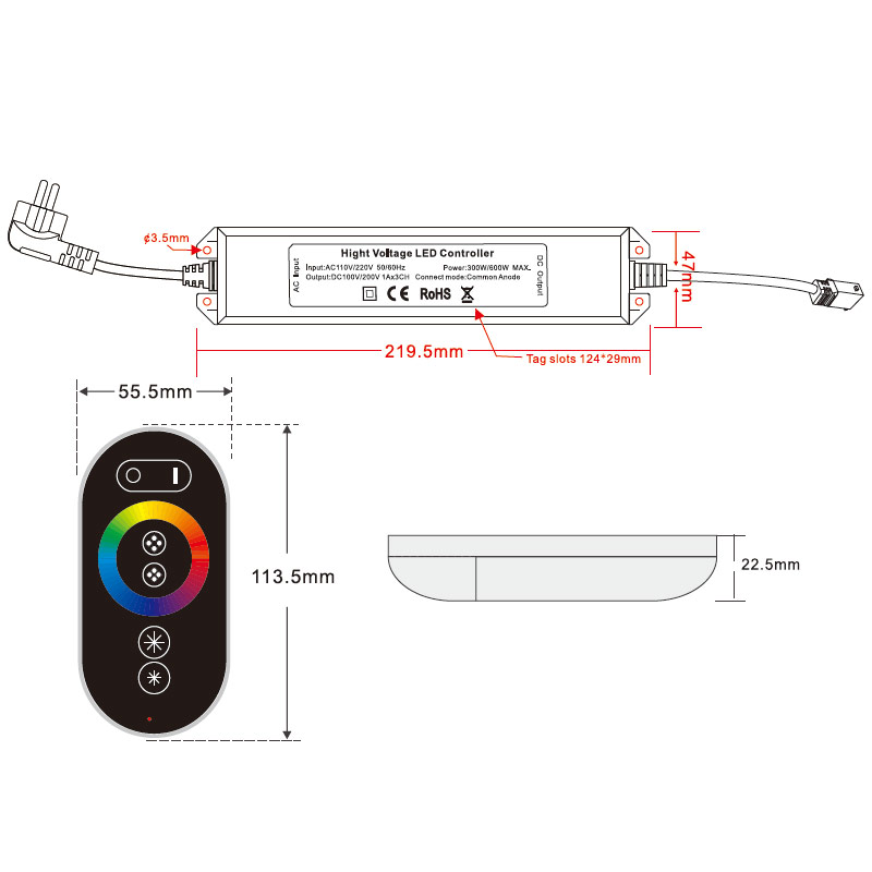 AC110-220V Max 600W, PWM LED RGB Wireless RF 6 keys Infrared Remote Controller, Waterproof IP67, For RGB High Voltage led lights strip