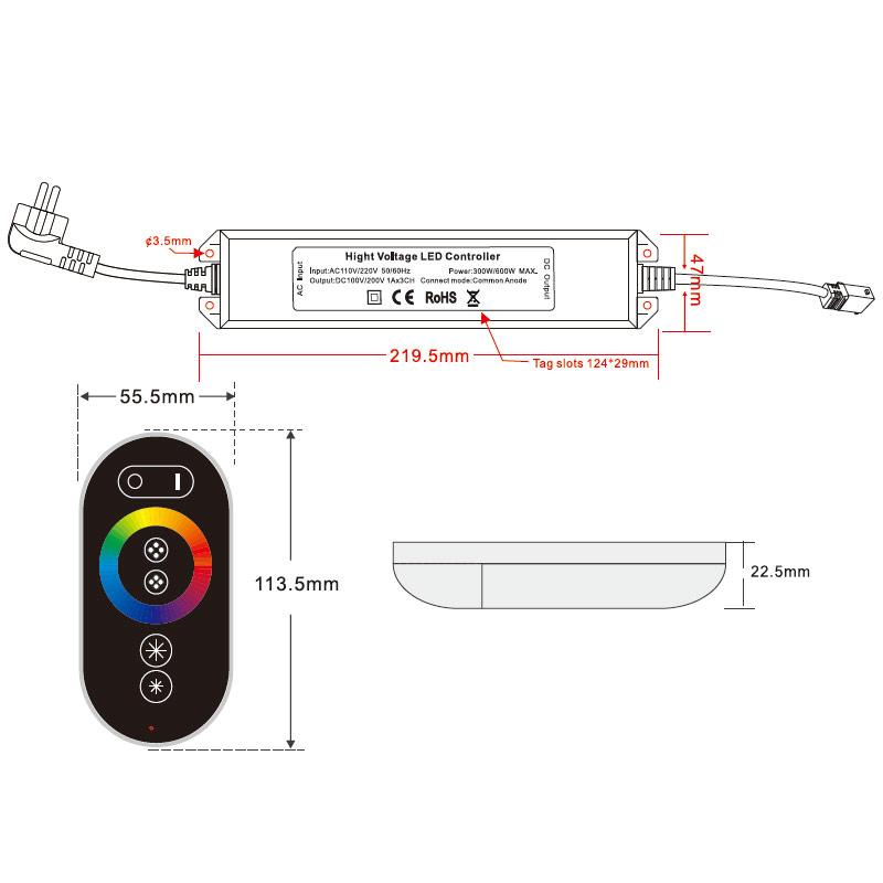 AC110-220V Max 600W, PWM LED RGB Wireless RF 6 keys Infrared Remote