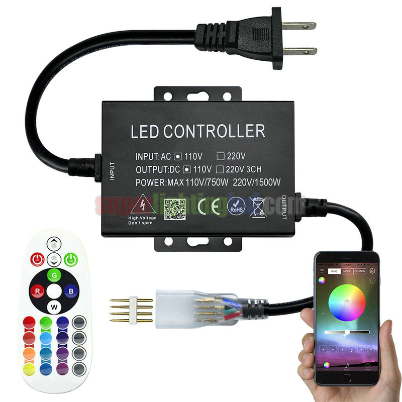AC110-220V Max 1500W, PWM LED RGB Wireless RF 24 keys Infrared Remote Controller, For 164 or 328Ft RGB 5050 High Voltage led strip lights