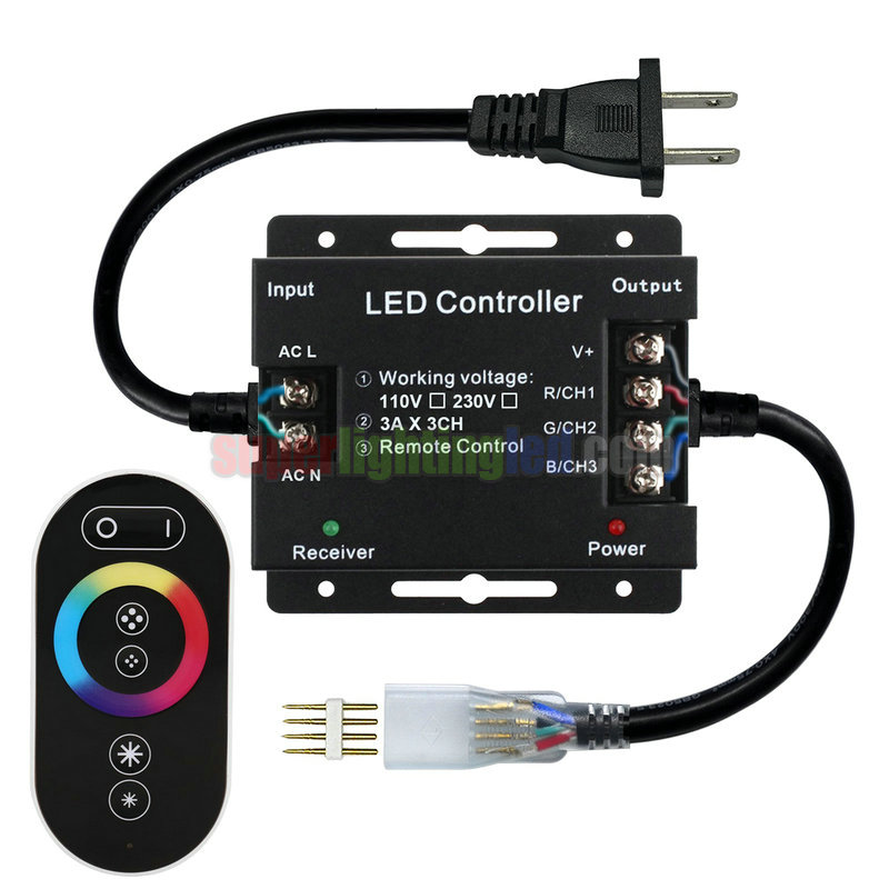 AC110-220V 1500W Max, LED RGB Wireless RF color ring Infrared Remote  Controller, For 164Ft RGB High Voltage led strip lights [CONHV-1500D-1]superlightingled.com