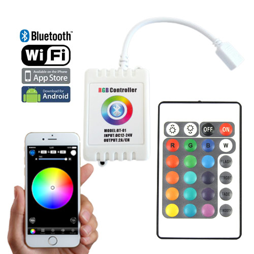 Color change rgb controller series dc1224v 2axch bluetooth wifi rf wireless control via ios or android smart phone aloadofball Image collections