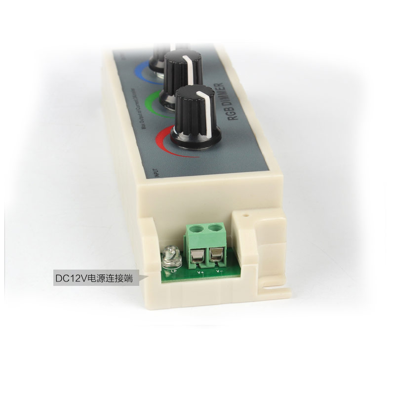 DC12/24V 3A3CH Max 108W Manual knob Setting Three Color Dimmer Controller For Color Change LED Light Strips or Modules