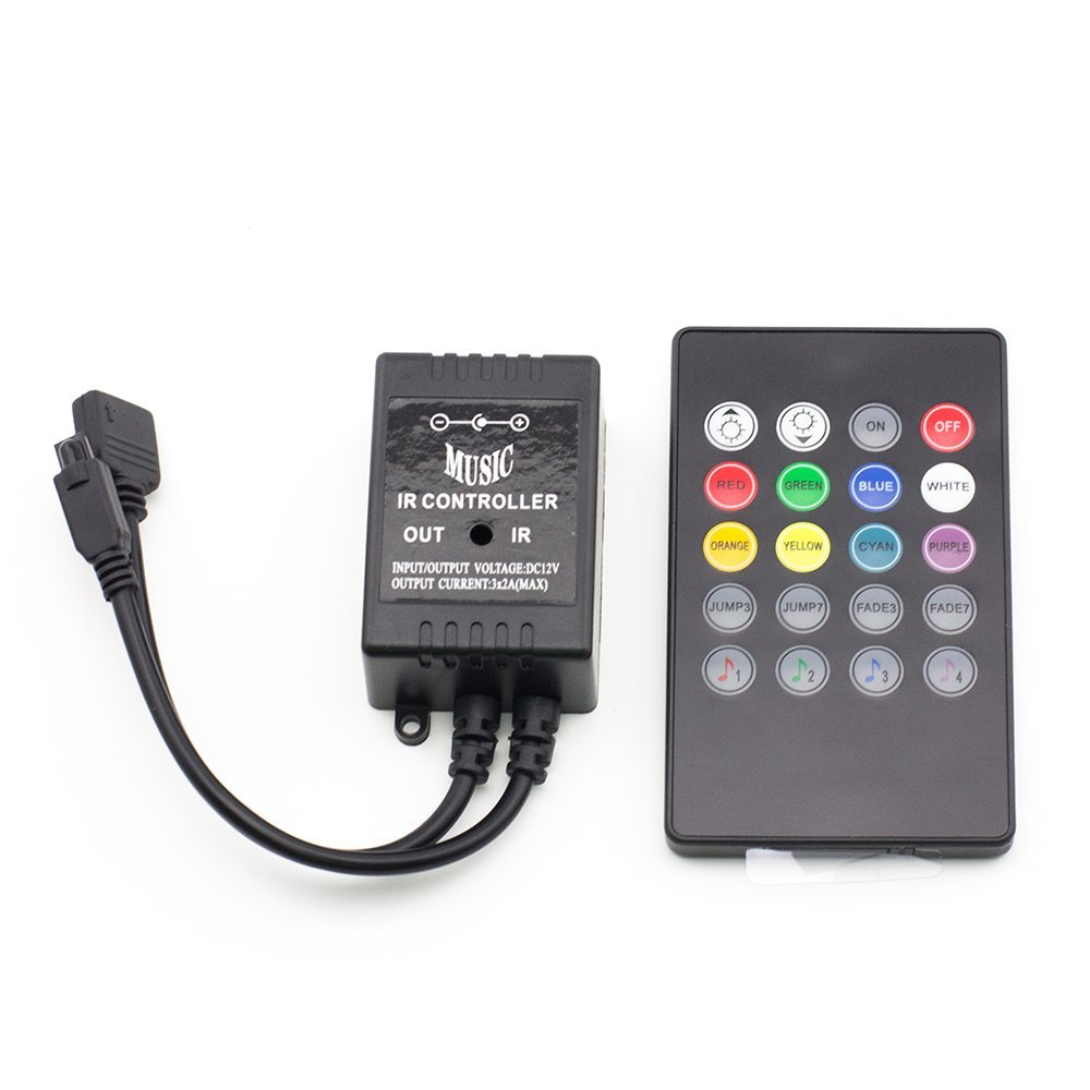 DC12/24V 2A3CH Max 72W LED Music Controller With 20keys RF Remote control For 3528 5050 Color Change LED Light Strips or Modules