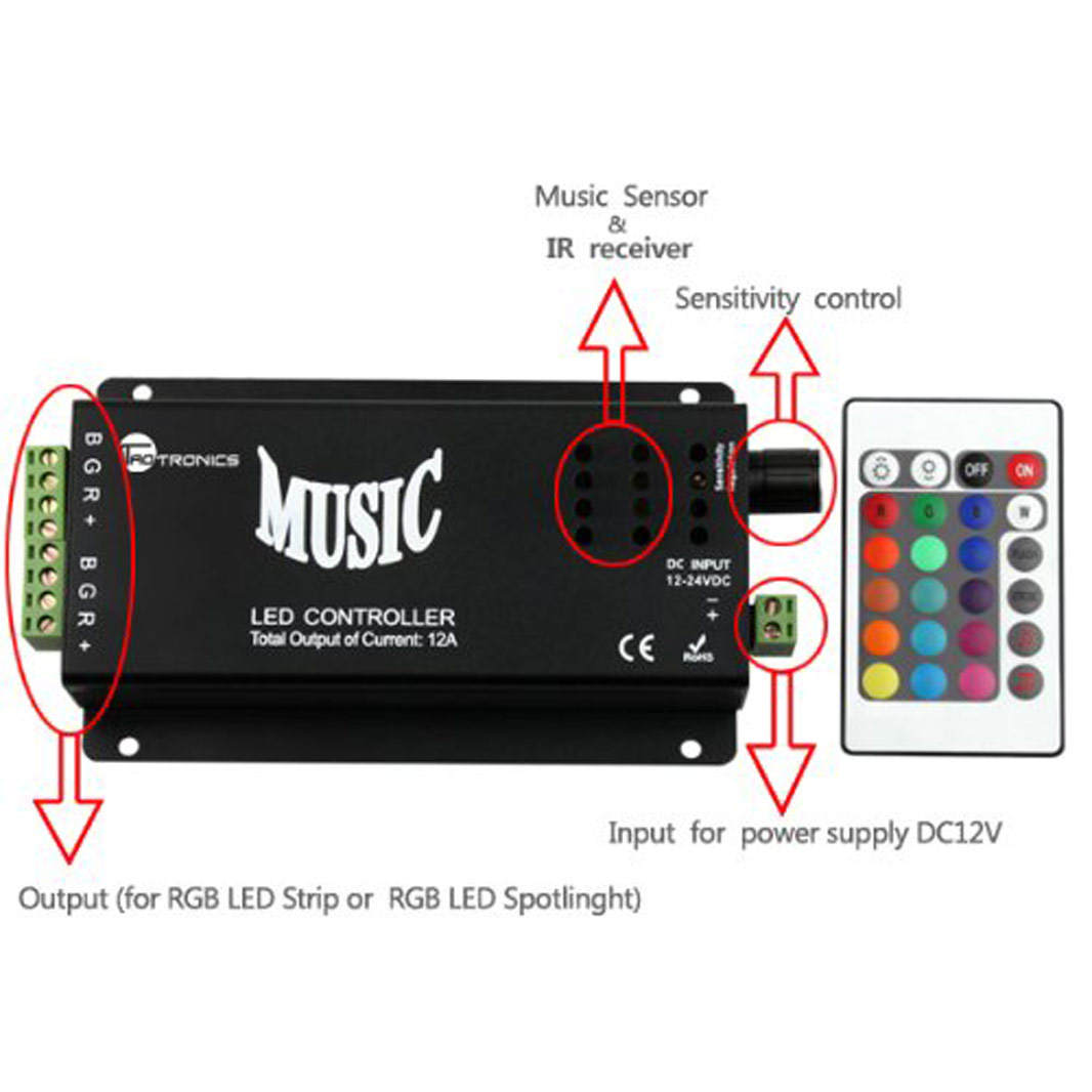 DC12/24V 3A4CH Max 144W, LED Music rhythm Black or White Controller Sound Recognition for bar or cars, IR Remote control RGB Strips or Modules