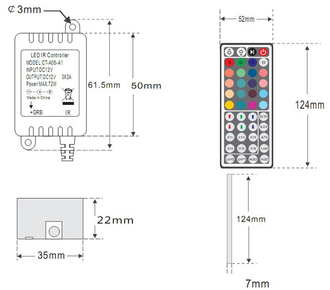 DC5-12/24V Max 12A 4A3CH, LED RGB MINI Wireless RF Infrared Controller For RGB LED Light Strips or Modules