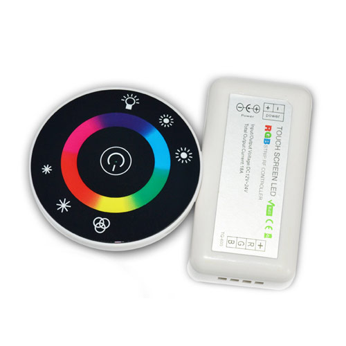 DC12/24V Max 18A 6A3CH, UFO Circular Touch Panel LED RGB Wireless RF Remote Controller For Color Change Led Strips