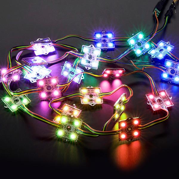 DC12V 0.96W WS2801 Waterproof 5050SMD Metal 4 LEDs Full Color Digital Programmable Individually Addressable RGB LED Pixel Moudles String Lights