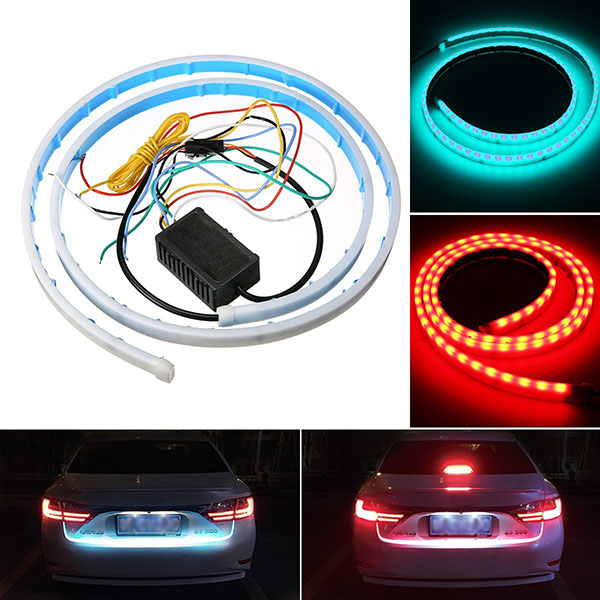 DC12V LED Car Tailgate Strip Light Universal LED Brake Reverse Rear Turn Signal Running Flowing Emergency Tail Strip Light Bar with Dual Color Waterproof Flexible Multifunction Driving