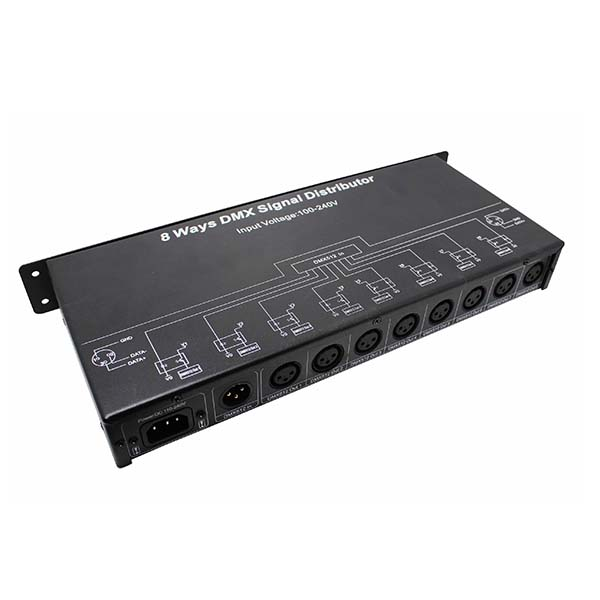 AC 100 ~ 240V 8 channel DMX512 signal mostly 16pcs signal amplifier DMX128 signal distributor for improving the whole digital lighting control system