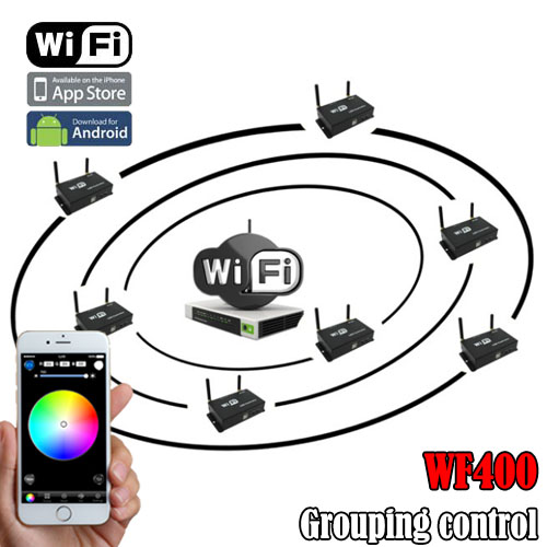 Convenient used single point control / group control powerful wifi controller can control about 30 m led light strip , outdoor lightings