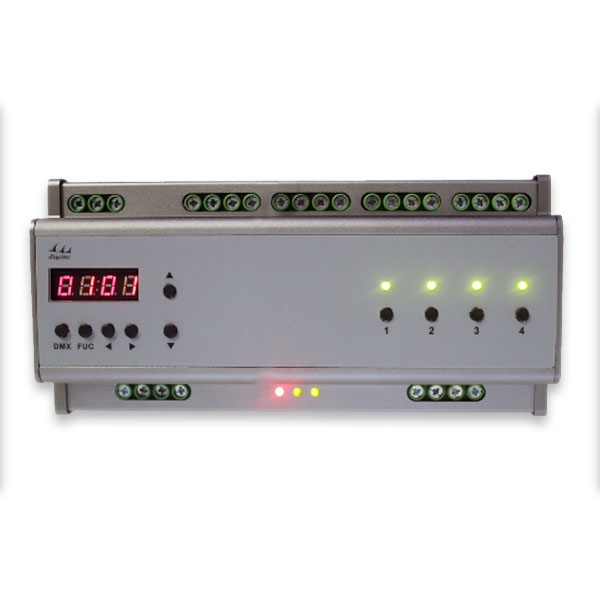 DMX306 4 circuit output international DMX - 512 standard protocol adopted rail 0-10V dimmer applied for company general lighting control system , home lighting systems , led light strips