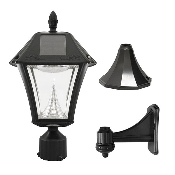 DS50 Outdoor Black Resin Solar Post/Wall Light with Warm-White LED
