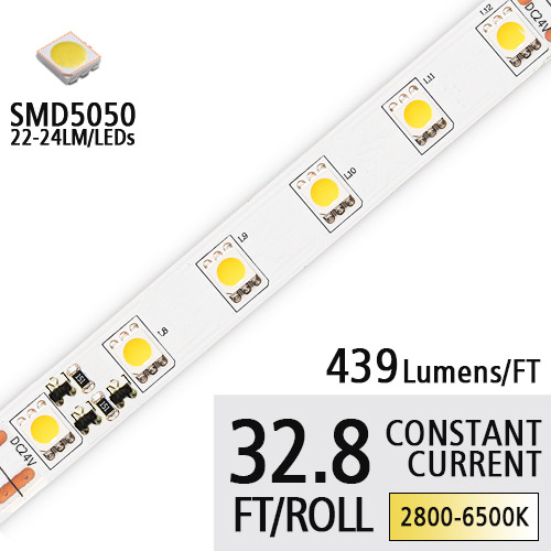DC24V 5050SMD 90 High CRI LED Tape Lights - Constant Current Flexible LED Strip Lights - 32.8Ft/Roll, Apply For Trademark Lighting