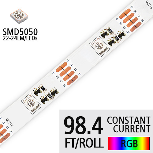 DC24V 5050 SMD High Bright LED Waterproof IP67 Exterior Lighting- Constant Current Flex LED Strip Lights- 4LEDs/M - 98.4Ft/Roll Customized Strips
