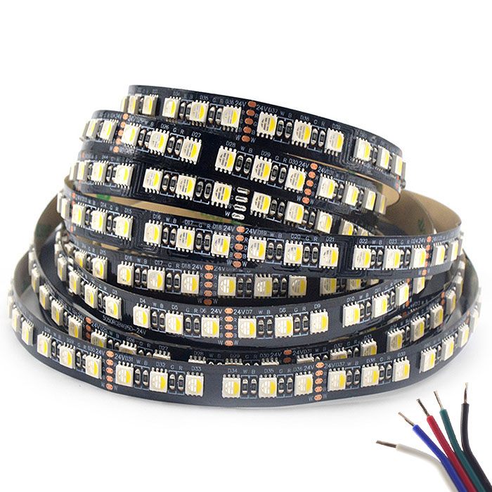 RGBW Super Bright High density 4 in 1 Series DC24V 5050SMD 480LEDs Flexible LED Strip Lights Black FPCB 16.4ft Per Reel By Sale