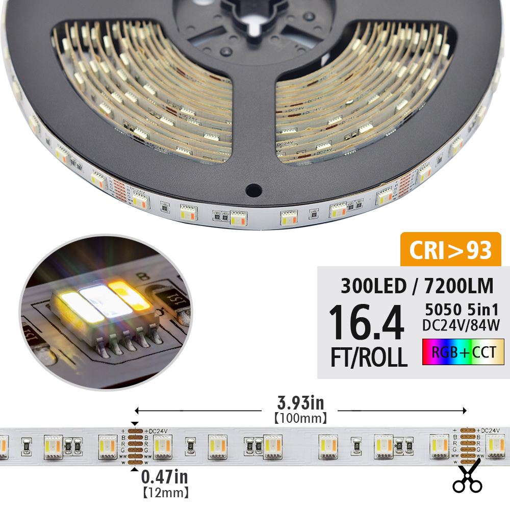 Single Row RGB+CCT 5in1 Series DC12/24V 5050SMD 5 Colors RGBWW Flexible LED Strip Lights Waterproof Optional 16.4ft Per Reel For Hotel Decoration