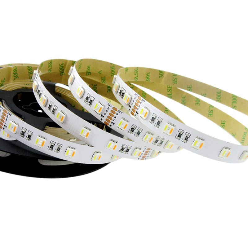 Single Row RGBWW 5in1 Series DC24V 5050SMD 5 Colors Flexible LED Strip Lights Waterproof Optional 16.4ft Per Reel For Hotel Decoration