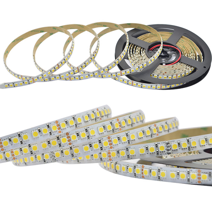 Single Row Series 12/24VDC 5050SMD120LEDs/m Flexible LED Strip Lights Super Bright LEDs16.4ft Per Reel By Sale
