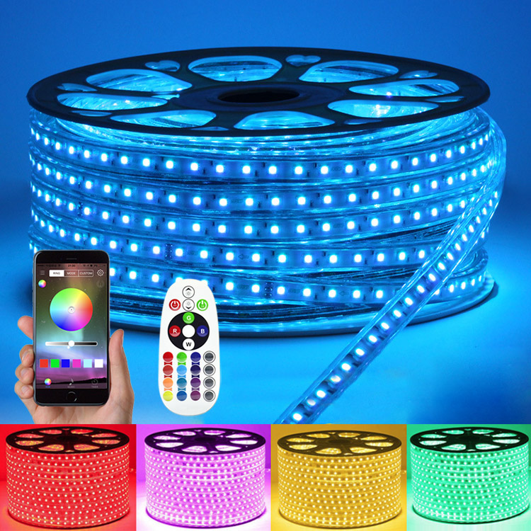 AC110/220V High Voltage RGB APP Control Color Change LED Tape Lights - Outdoor Waterproof IP67 - 18LEDs/Ft, 32.8~328Ft/Roll