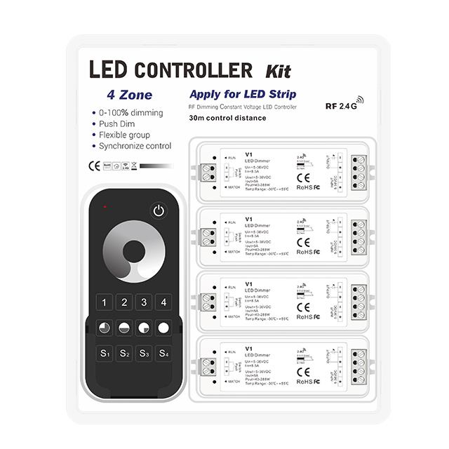 DC5-24V 8A Wireless RF 2.4G 4 zone Led Remote Controller Dimmer for Single Color