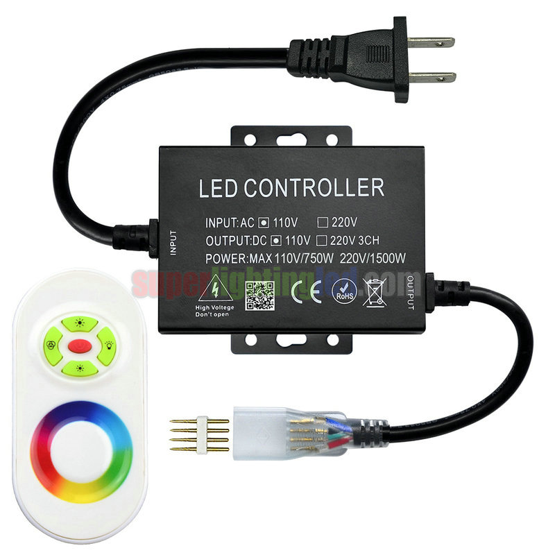 AC110-220V, 5-Keys Touch LED RF Controller For Waterproof High-pressure 2835SMD LED RGB Light Strips