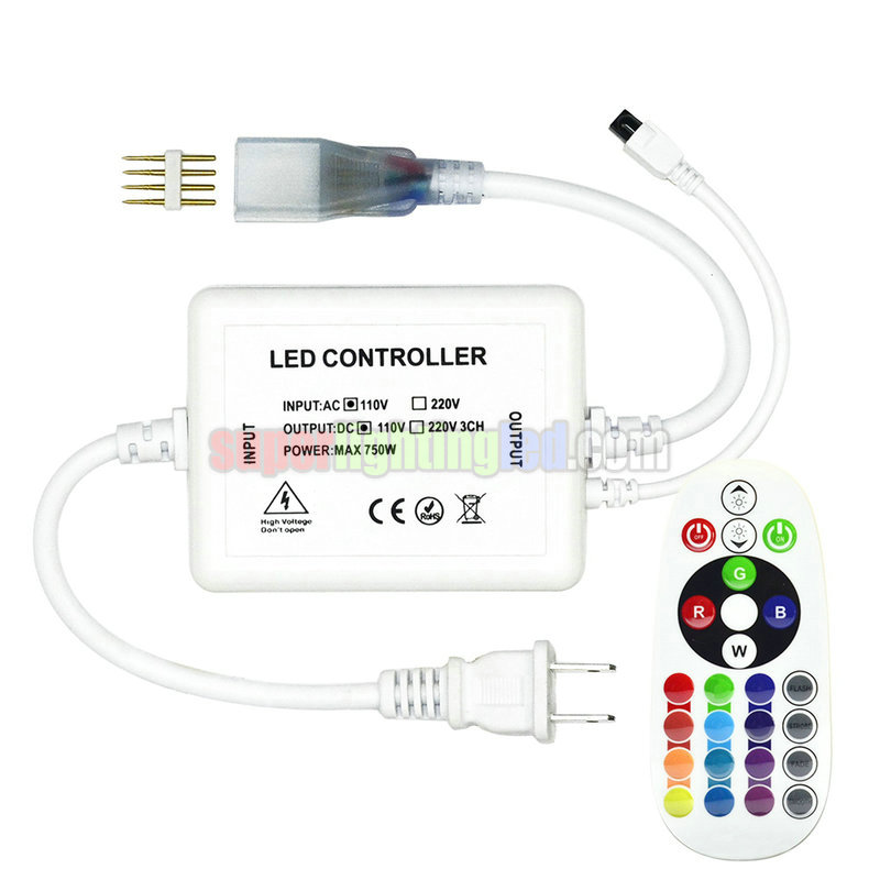 AC110-220V, RF Wireless 24 Keys 16-Colors Remote Controller, High Voltage RGB LED Controller, Suitable for 5050SMD Outdoor Waterproof LED Strip Lighting Project