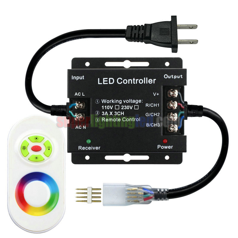 AC110-220V, Output 1500W, 5-Keys Touch LED RF Controller For Waterproof IP68 High-pressure 3014SMD LED RGB Light Strips