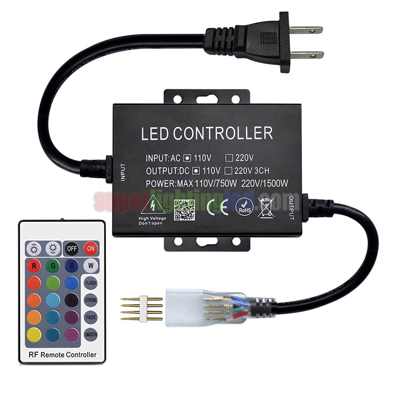 ac110/220v 1500w, 24keys 16 color ir led controller, for bridge lighting  project