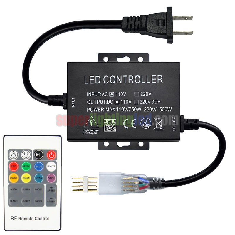 AC110V/220V 1500W 20Keys IR rgb led controller,For Swimming pool,Fence lighting project,Connect 120V,164Ft High voltage 5050 RGB LED strip