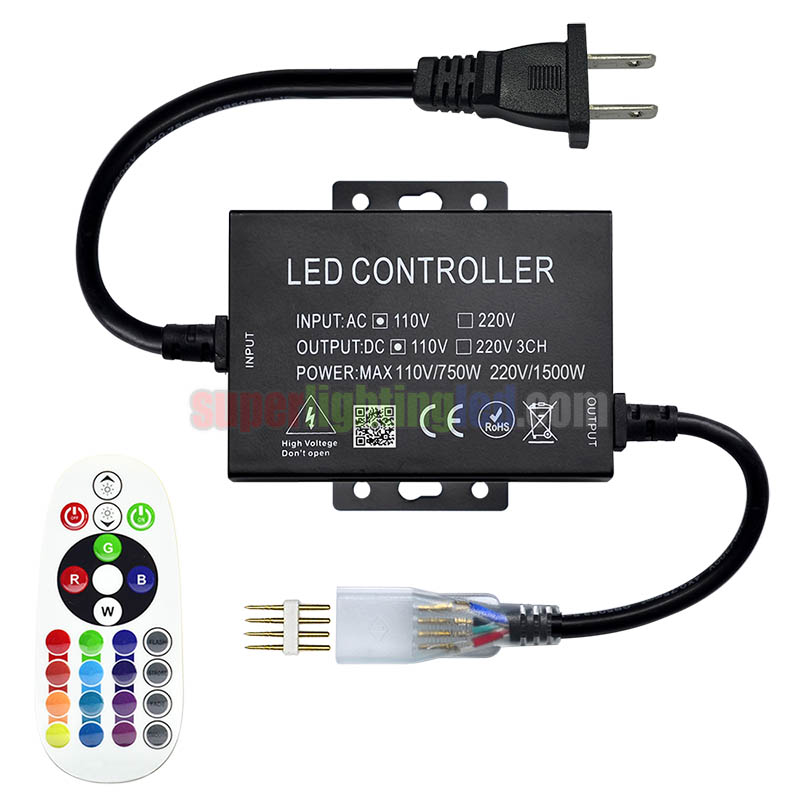 AC110V/220V 1500W 25Keys IR 16 Colors Remote RGB Controller, For Outdoor Park and villa lighting project, High voltage 5050 SMD LED Strip lights