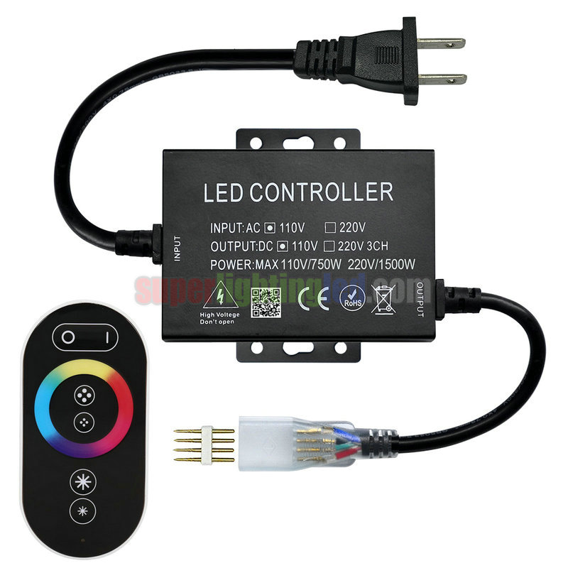 AC110V/220V 1500W 6Keys Touch Color Ring RF RGB Controller, Suitable For Outdoor Waterproof Lighting Project With UL Listed AC US Plug