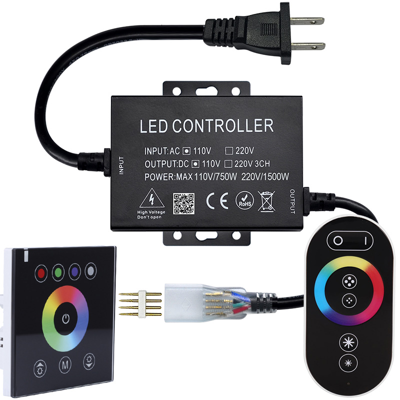 AC110V/230V 1500W Type 86 touch panel high voltage RGB light strip controller,For Home lighting